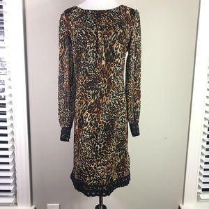 Tahari Cheetah Animal Print Shift Dress